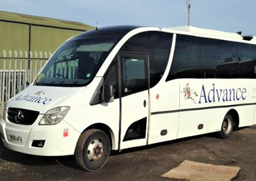 Our Air Conditioned 29 Seat Mercedes Coach with large Luggage Boot